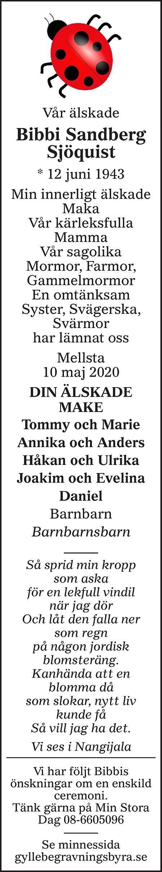 Bibbi Sandberg Sjöquist Death notice
