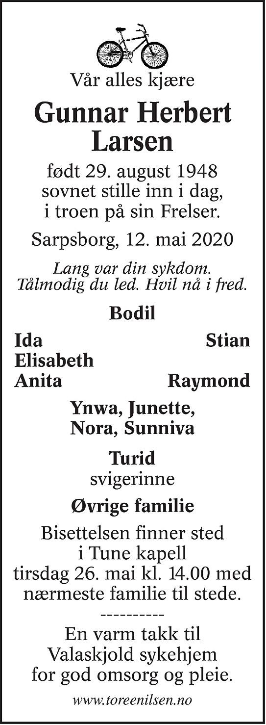 Gunnar Herbert Larsen Dødsannonse