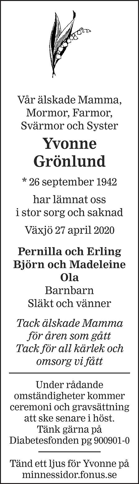 Yvonne Grönlund Death notice