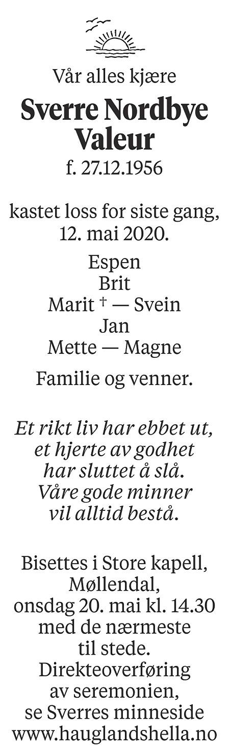 Sverre Nordbye Valeur Dødsannonse