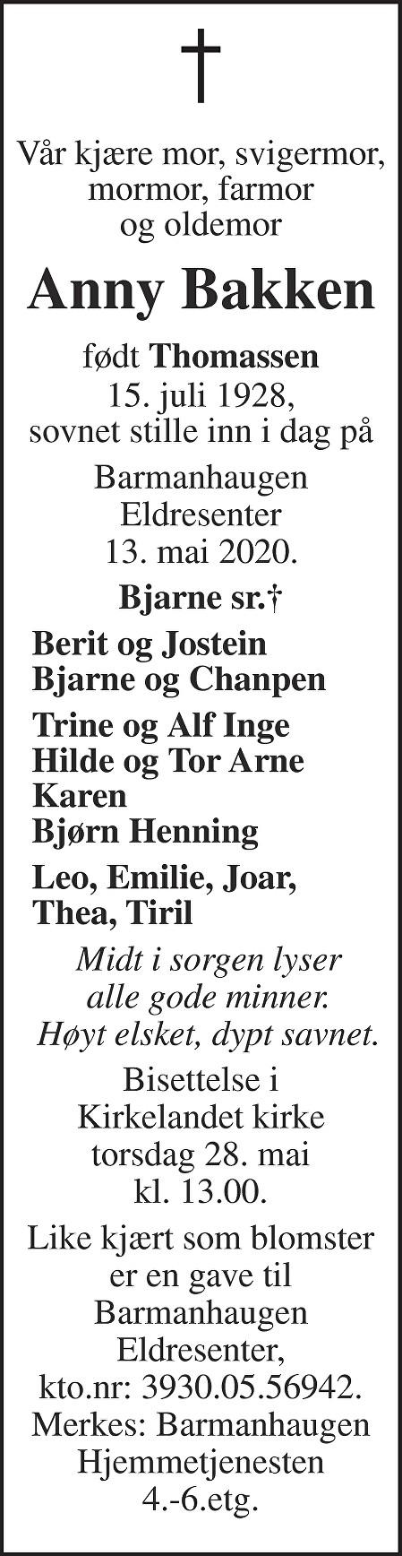 Anny Bakken Dødsannonse