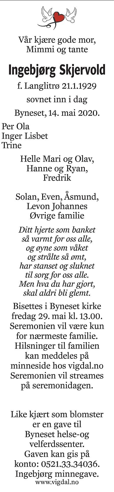 Ingebjørg Skjervold Dødsannonse