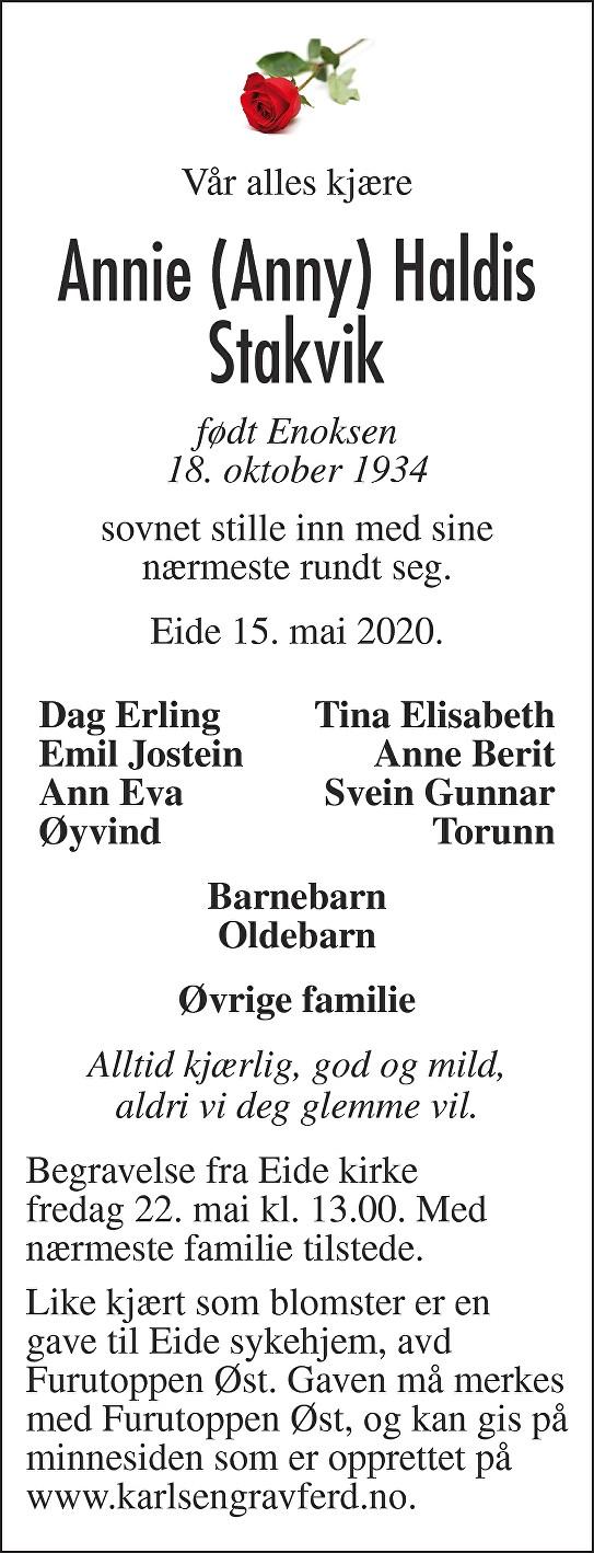 Annie Haldis Stakvik Dødsannonse