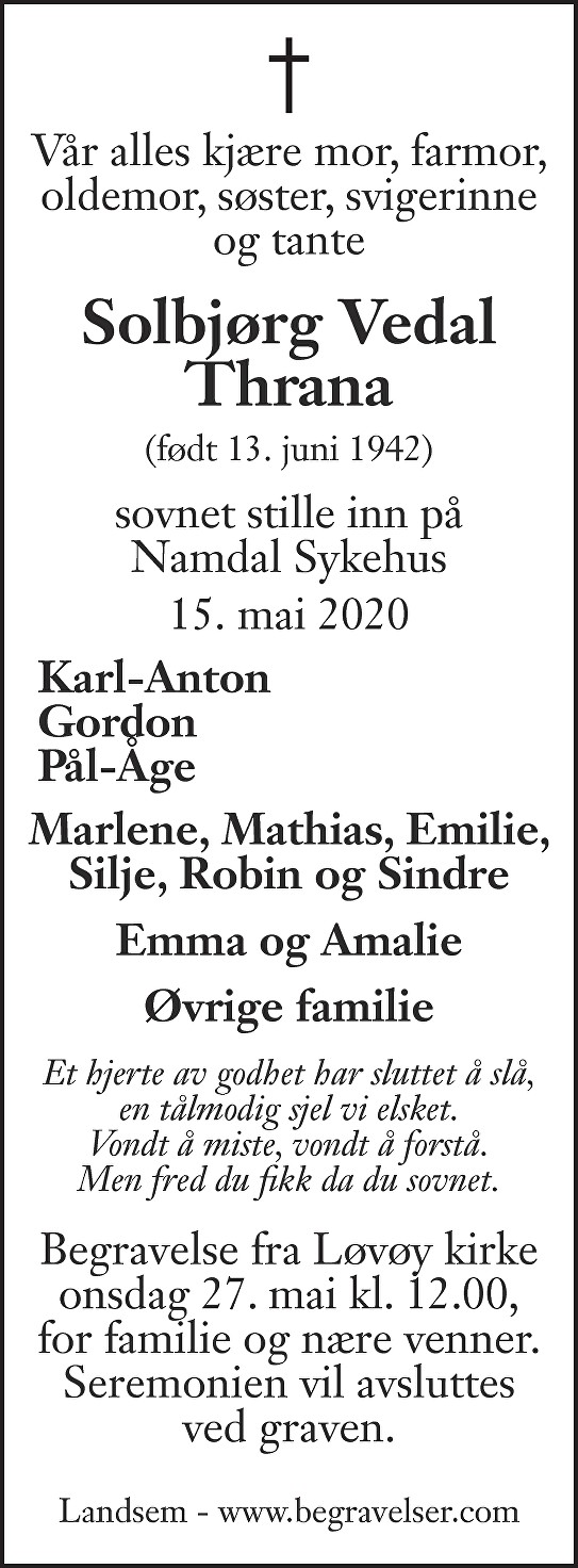 Solbjørg Vedal Thrana Dødsannonse