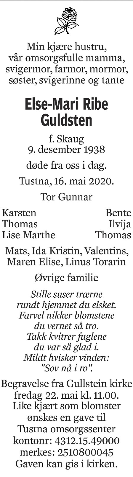 Else-Mari Ribe Guldsten Dødsannonse