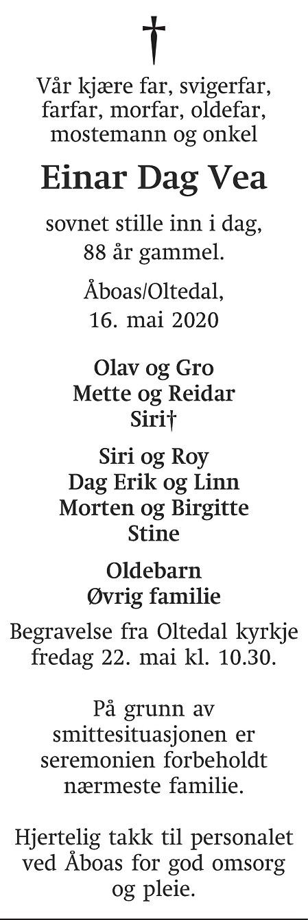 Einar Dag Vea Dødsannonse