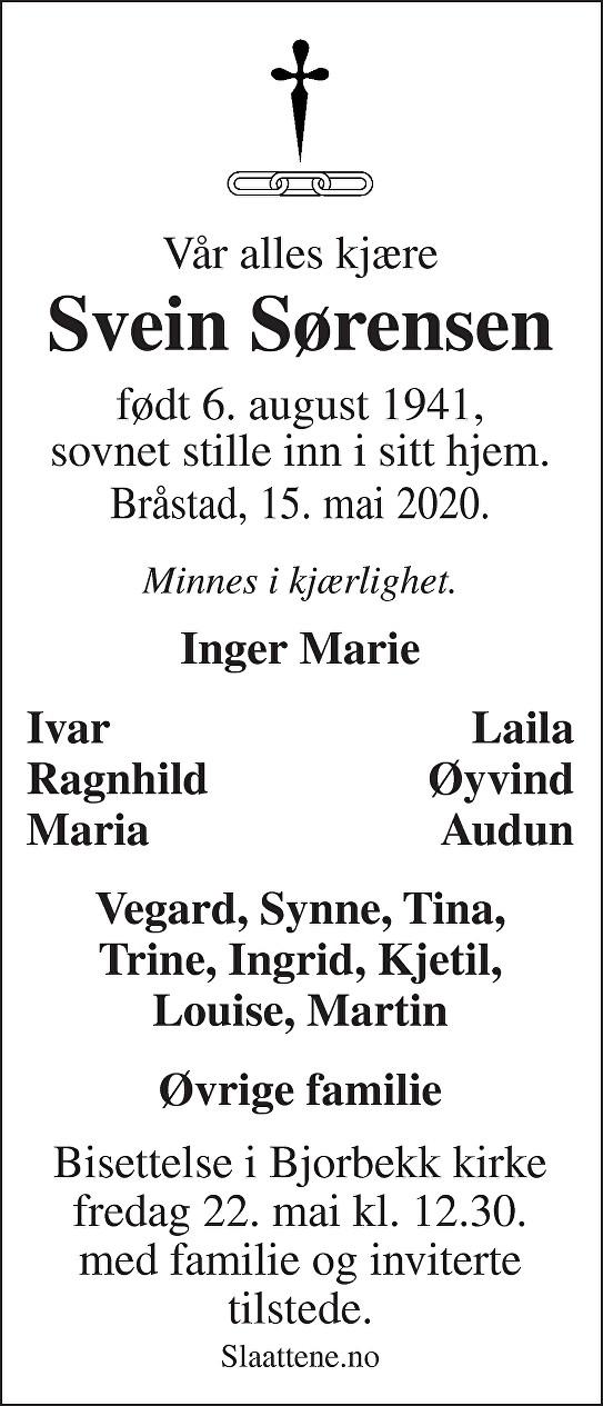 Svein Sørensen Dødsannonse