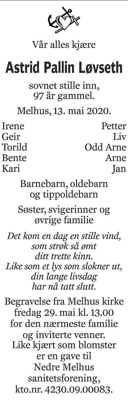 Astrid Pallin Løvseth Dødsannonse