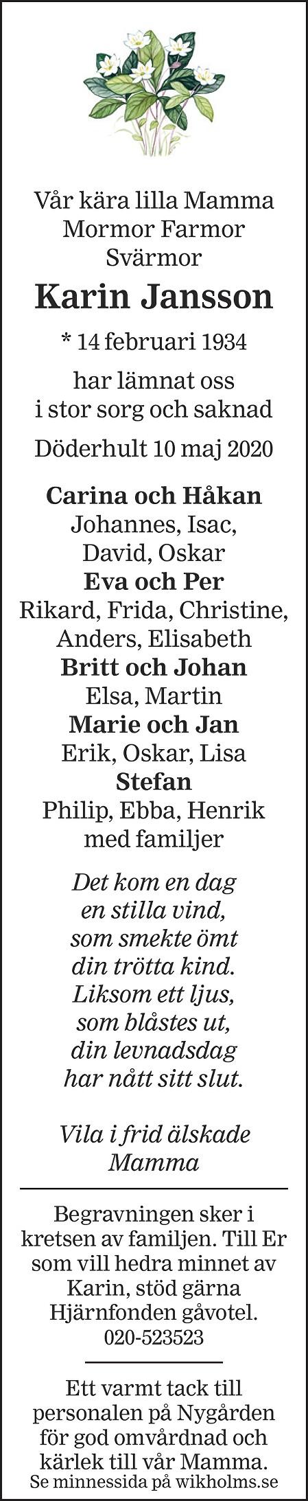 Karin Jansson Death notice