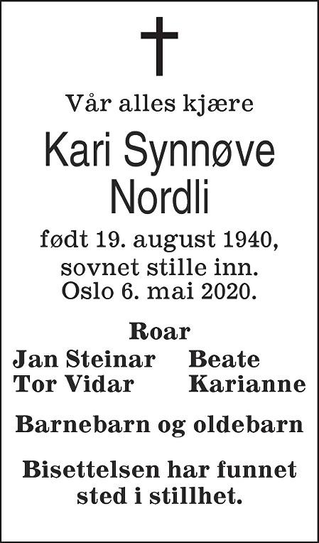 Kari Synnøve Nordli Dødsannonse