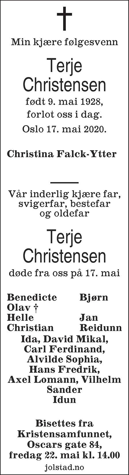 Terje Christensen Dødsannonse
