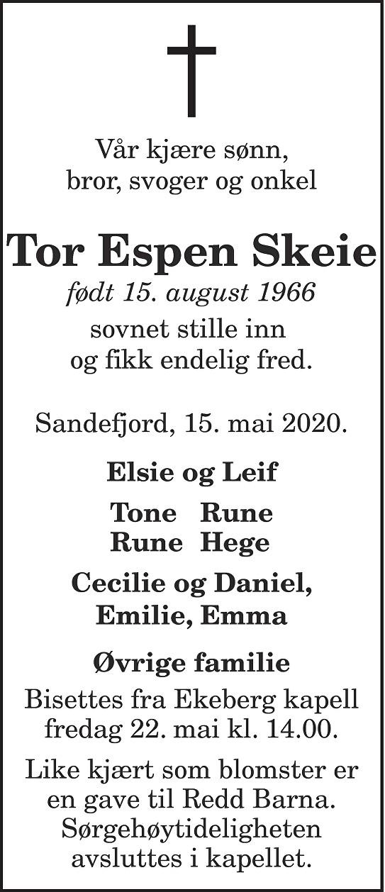 Tor Espen Skeie Dødsannonse