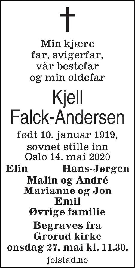 Kjell Falck-Andersen Dødsannonse