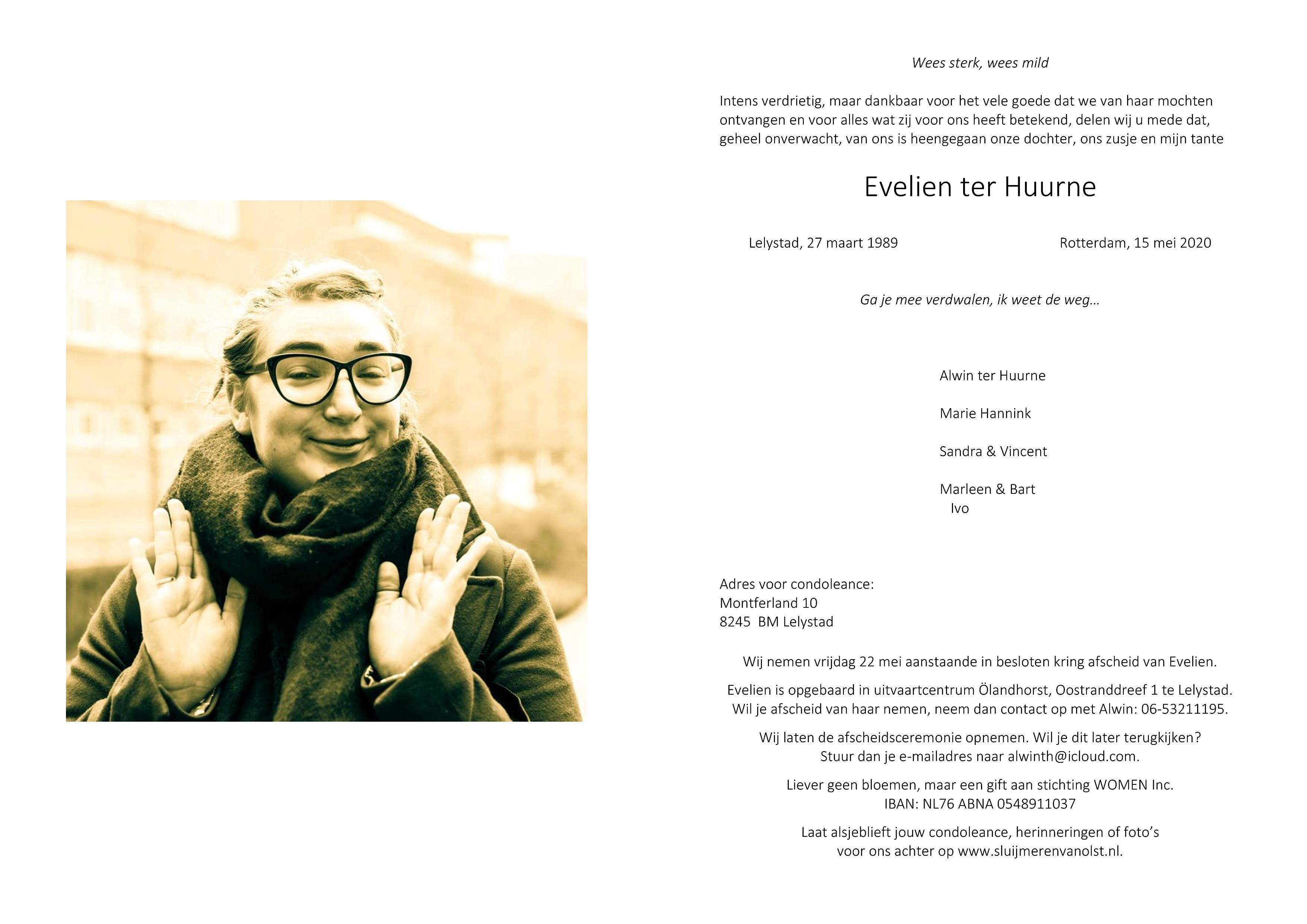 Evelien ter Huurne Death notice