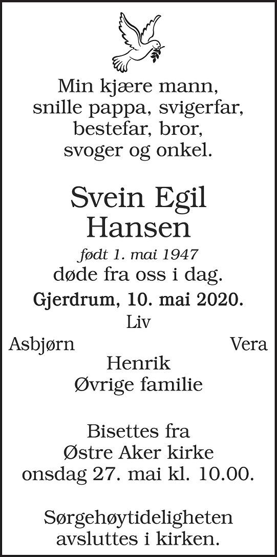 Svein Egil Hansen Dødsannonse