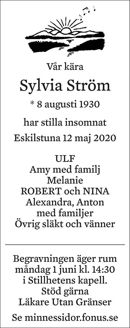 Sylvia Ström Death notice