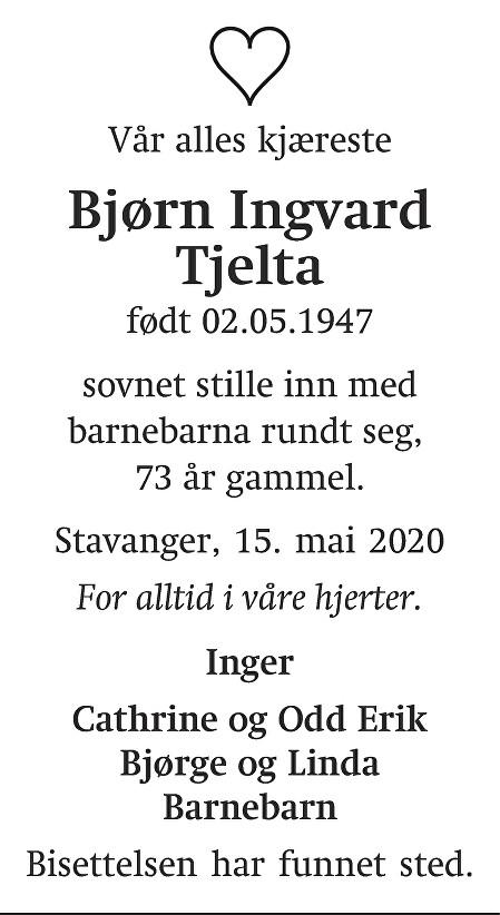 Bjørn Ingvard Tjelta Dødsannonse