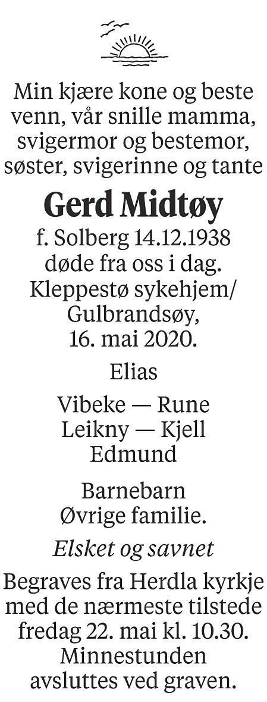 Gerd Midtøy Dødsannonse
