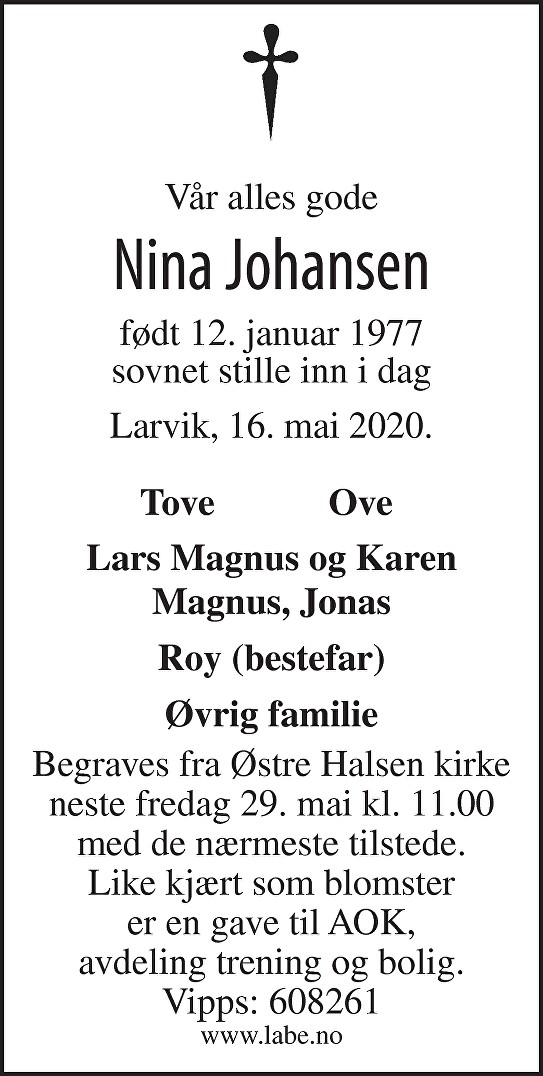 Nina Johansen Dødsannonse