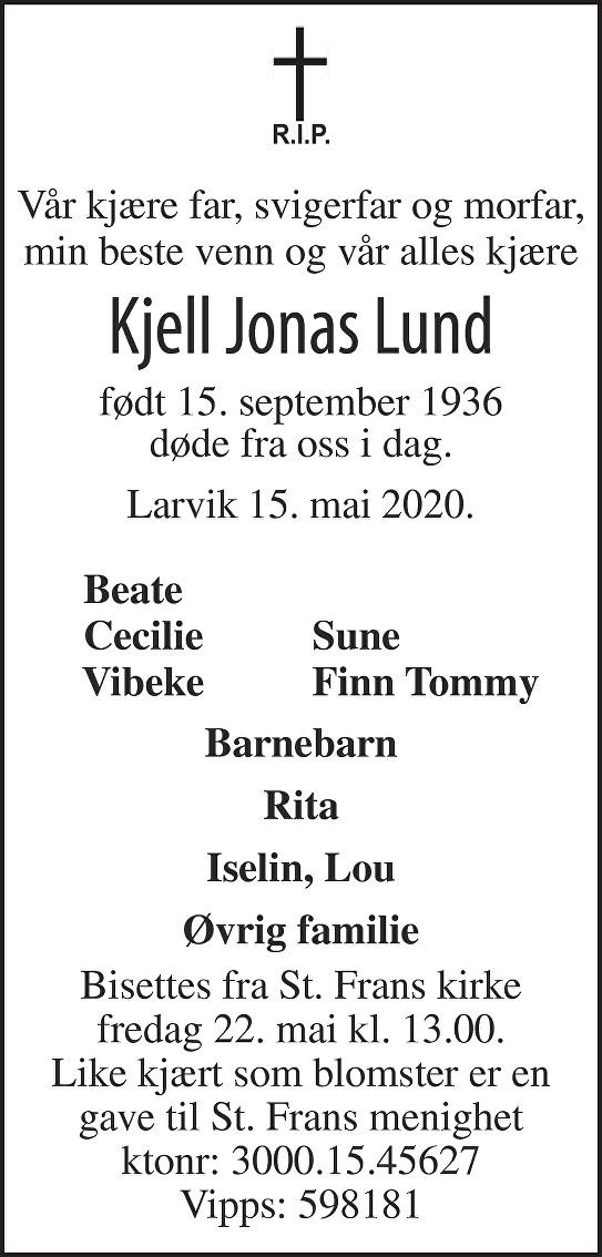 Kjell Jonas Lund Dødsannonse