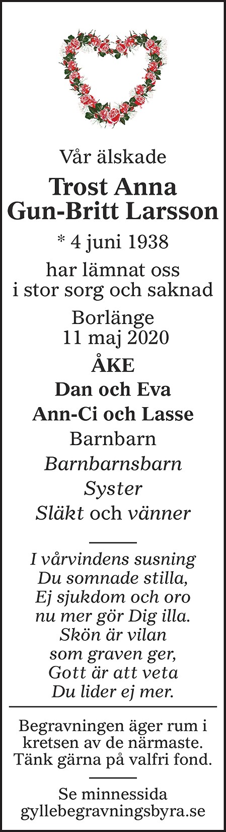 Trost Anna Gun-Britt Larsson Death notice