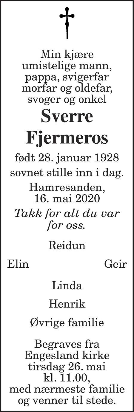 Sverre Fjermeros Dødsannonse