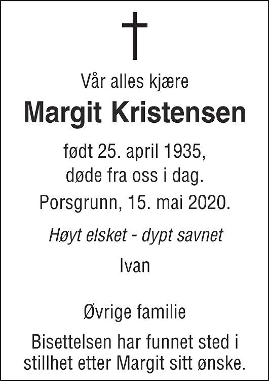 Margit Kristensen Dødsannonse