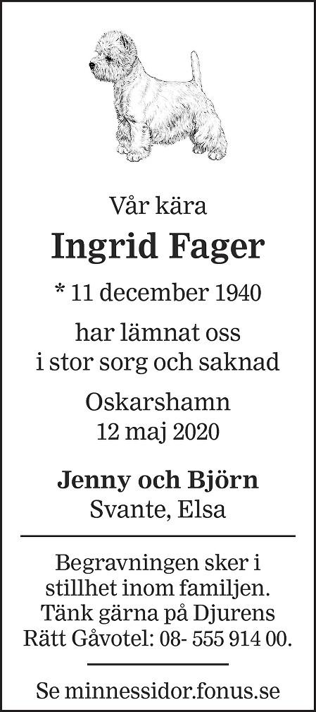 Ingrid Fager Death notice