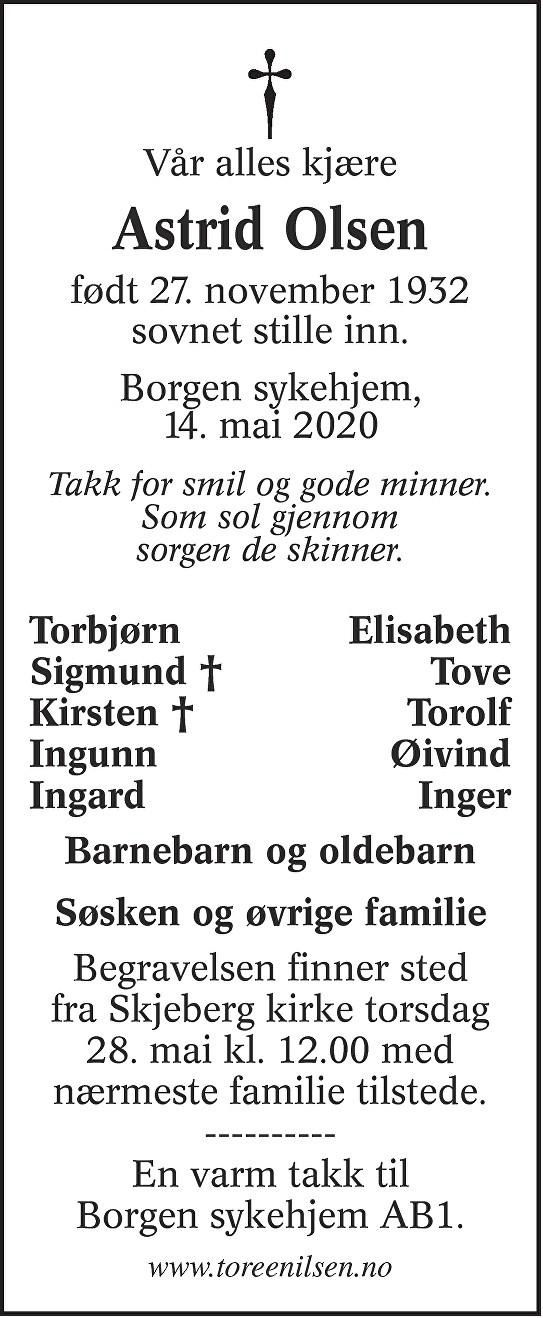 Astrid Olsen Dødsannonse