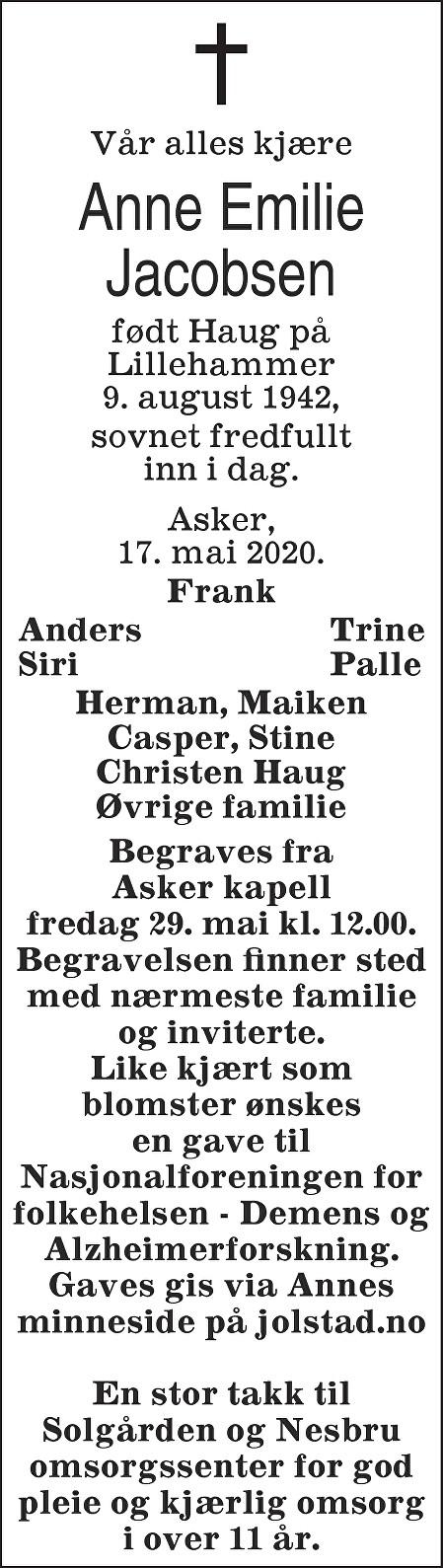 Anne Emilie Jacobsen Dødsannonse