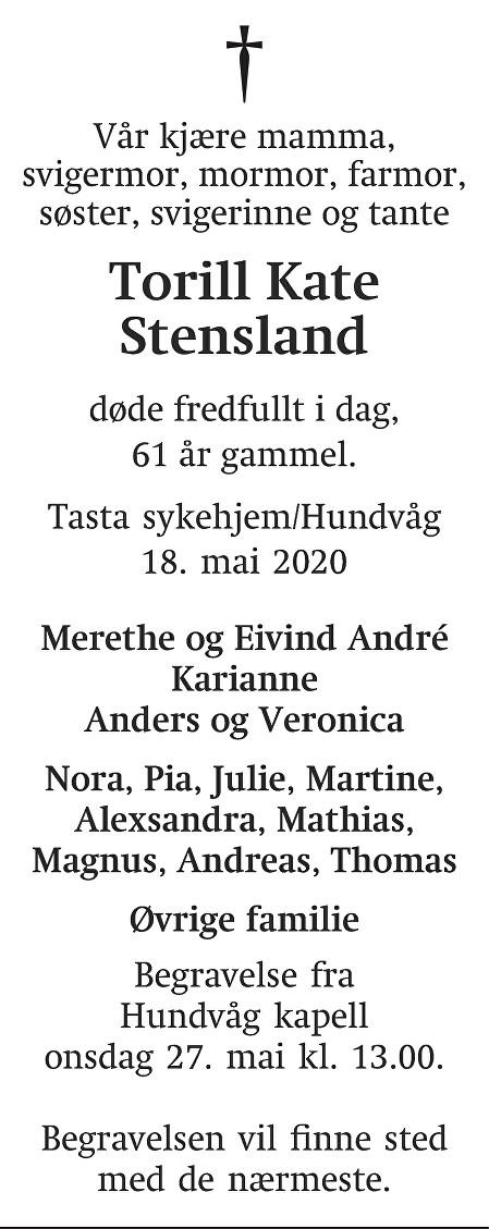 Torill Kate Stensland Dødsannonse