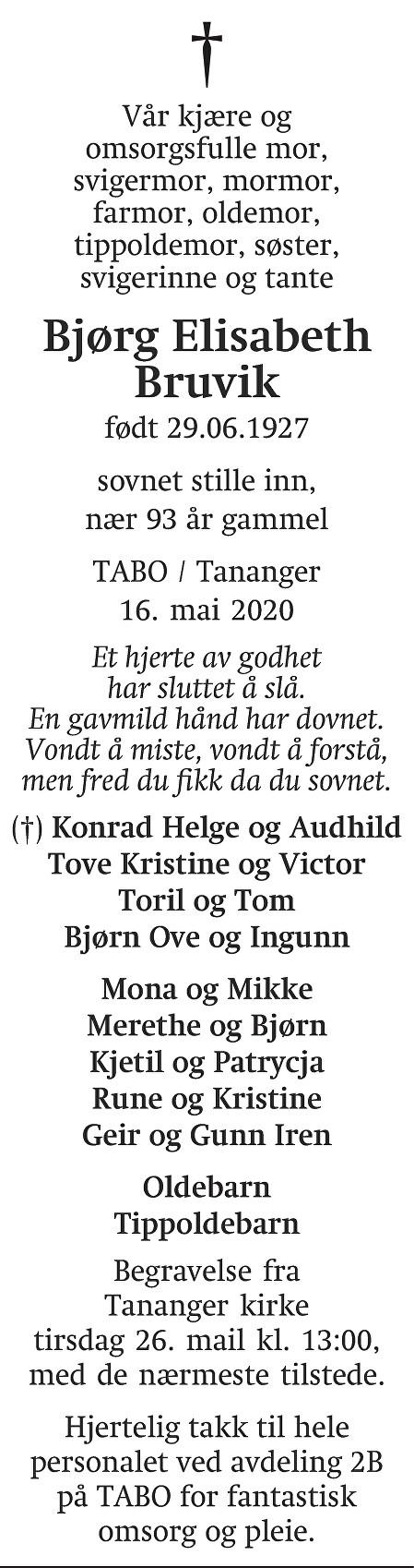 Bjørg Elisabeth Bruvik Dødsannonse