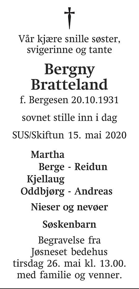 Bergny Bratteland Dødsannonse
