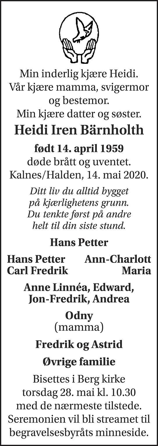 Heidi Iren Bärnholth Dødsannonse