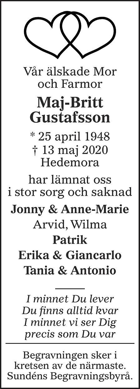 Maj-Britt Gustafsson Death notice