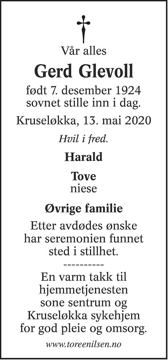 Gerd Asta Glevoll Dødsannonse