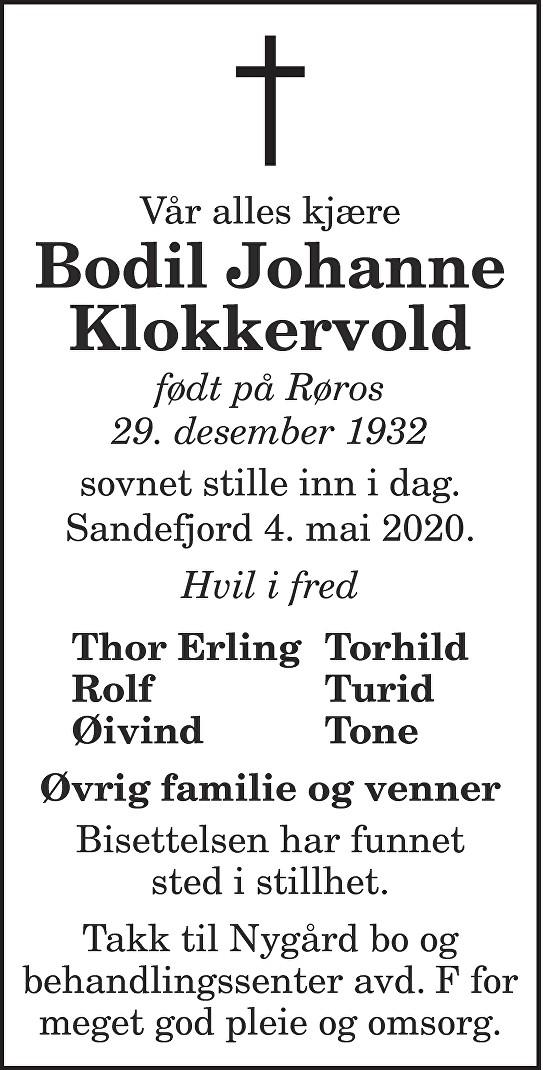 Bodil Johanne Klokkervold Dødsannonse