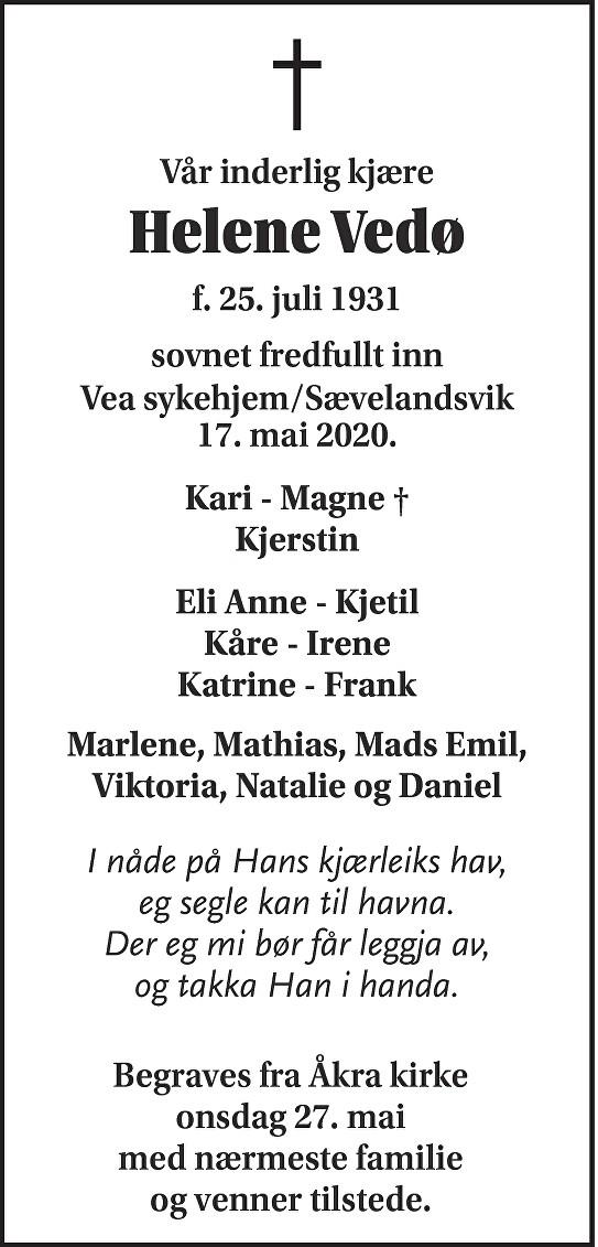 Helene Vedø Dødsannonse