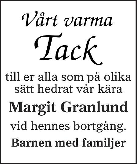 Margit Granlund Death notice