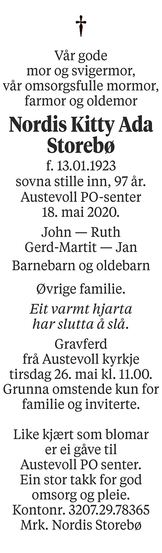Nordis Kitty Ada  Storebø Dødsannonse