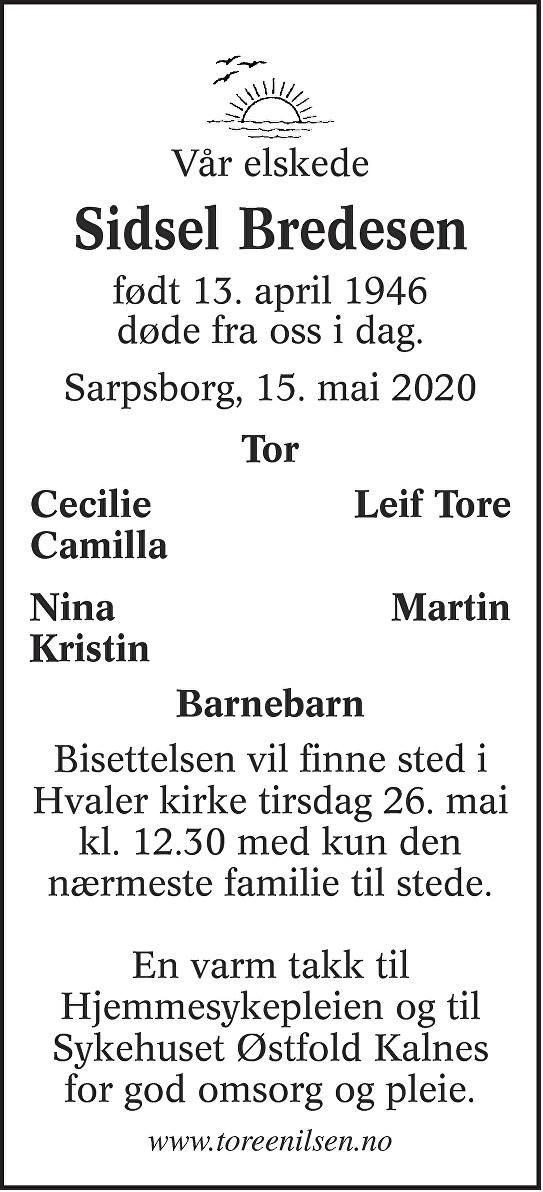 Sidsel Olsen Bredesen Dødsannonse