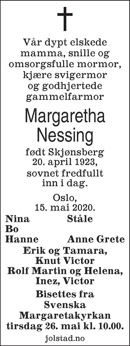 Märtha Margaretha Nessing Dødsannonse