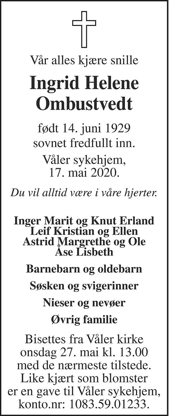 Ingrid Helene Ombustvedt Dødsannonse