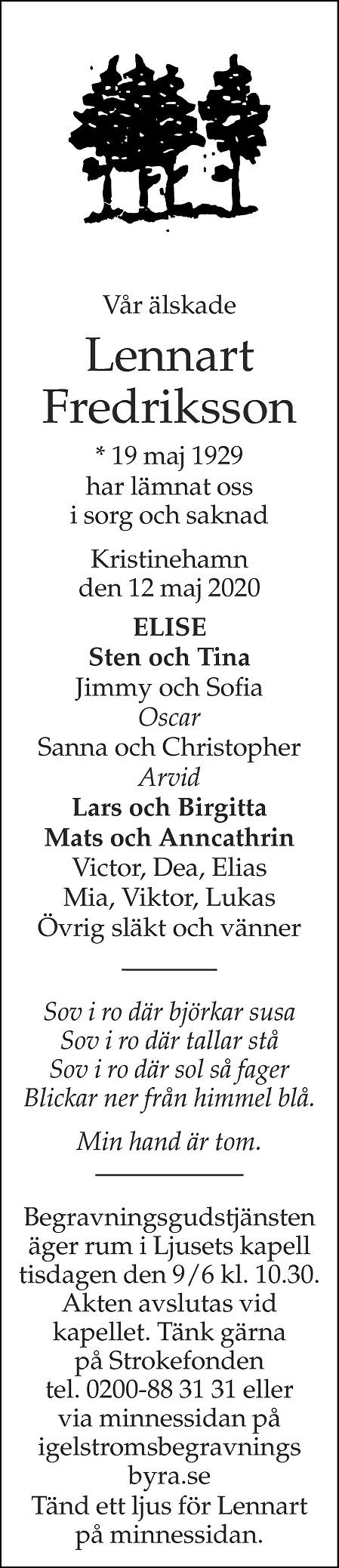 Lennart Fredriksson Death notice