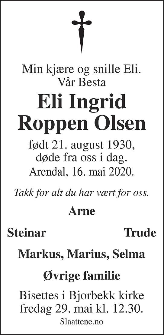 Eli Ingrid Roppen Olsen Dødsannonse