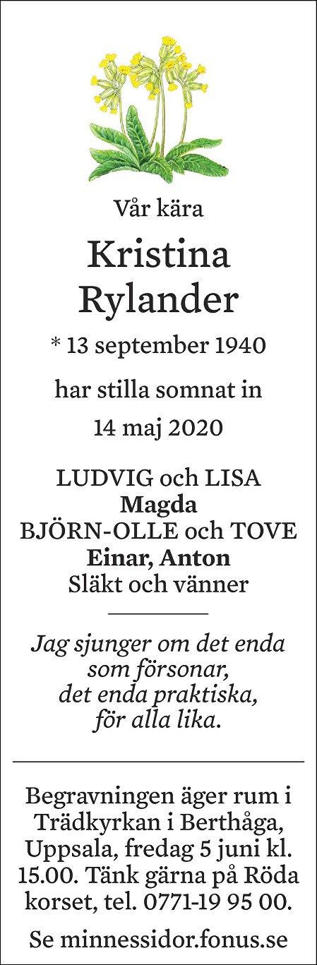 Kristina Rylander Death notice