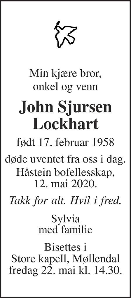 John Sjursen Lockhart Dødsannonse
