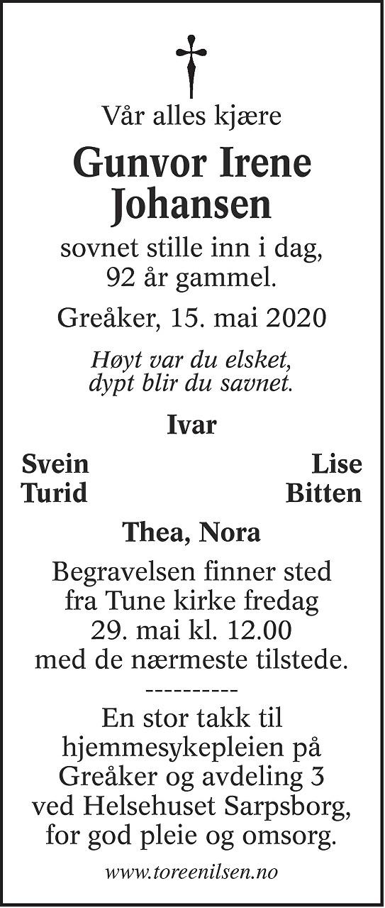 Gunvor Irene Johansen Dødsannonse