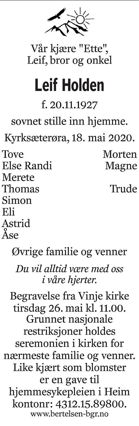 Leif Holden Dødsannonse