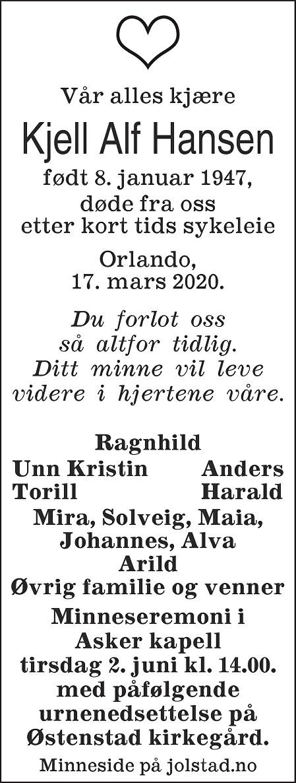 Kjell Alf Hansen Dødsannonse